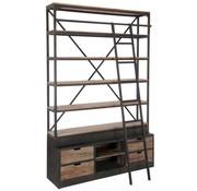 J -Line Boekenkast Met Ladder Lades Metaal Hout - Bruin