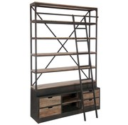 J-Line  Bookcase With Ladder Drawers Metal Wood - Brown