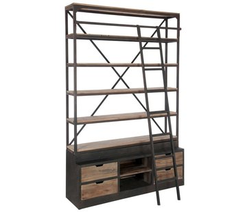 J -Line Bookcase With Ladder Drawers Metal Wood - Brown