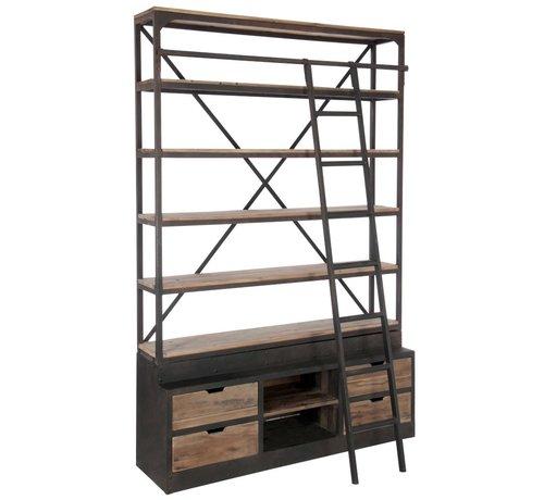 J-Line  Boekenkast Met Ladder Lades Metaal Hout - Bruin