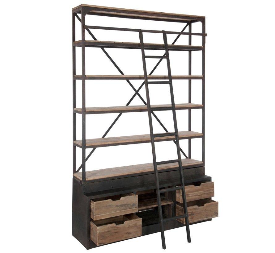 Boekenkast Met Ladder Lades Metaal Hout - Bruin