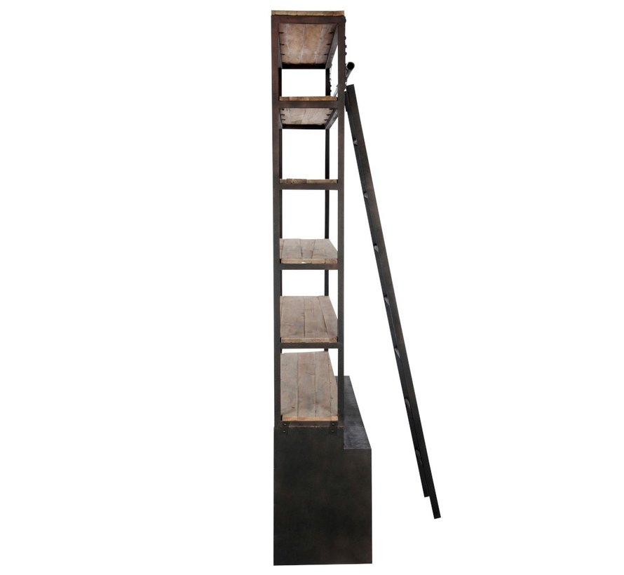 Bookcase With Ladder Drawers Metal Wood - Brown