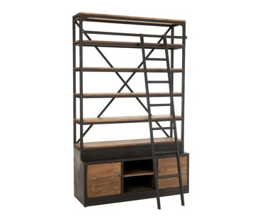J -Line Bookcase With Ladder Two Doors Black - Brown