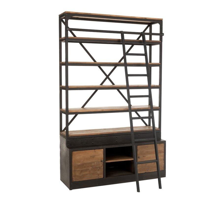 Boekenkast Met Ladder Twee Deuren Zwart - Bruin