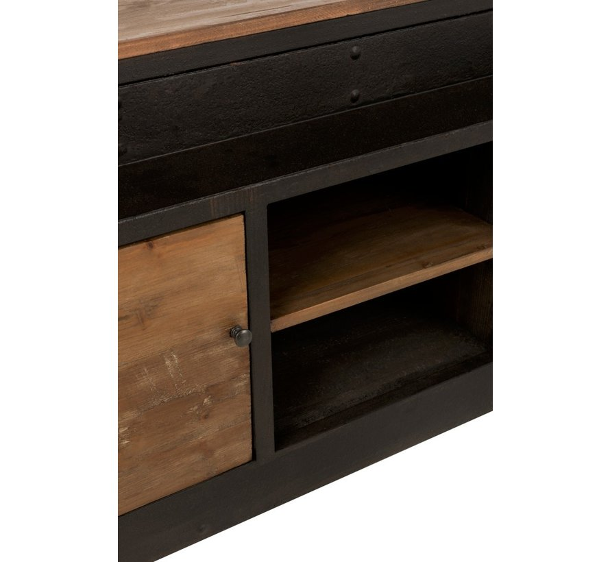 Bookcase With Ladder Two Doors Black - Brown