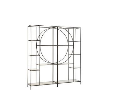 J-Line Open Cabinet Two Parts Circle Metal Glass - Black