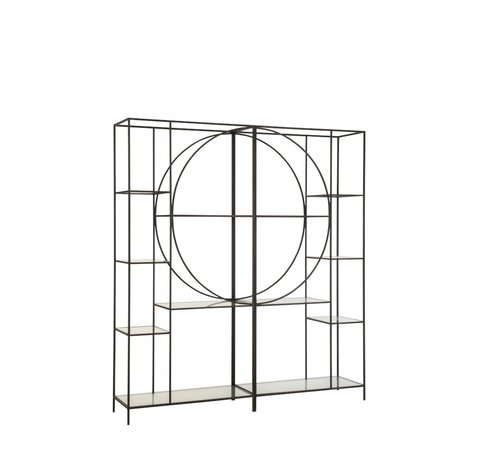 J-Line Open Kast Twee Delen Cirkel Metaal Glas - Zwart