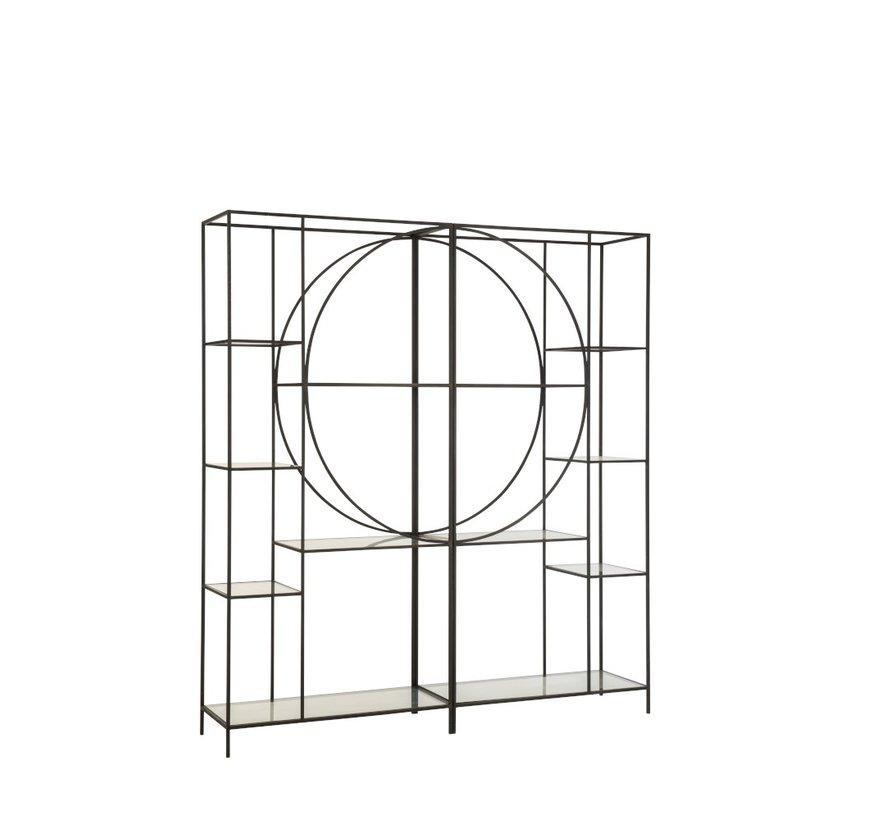 Open Kast Twee Delen Cirkel Metaal Glas - Zwart