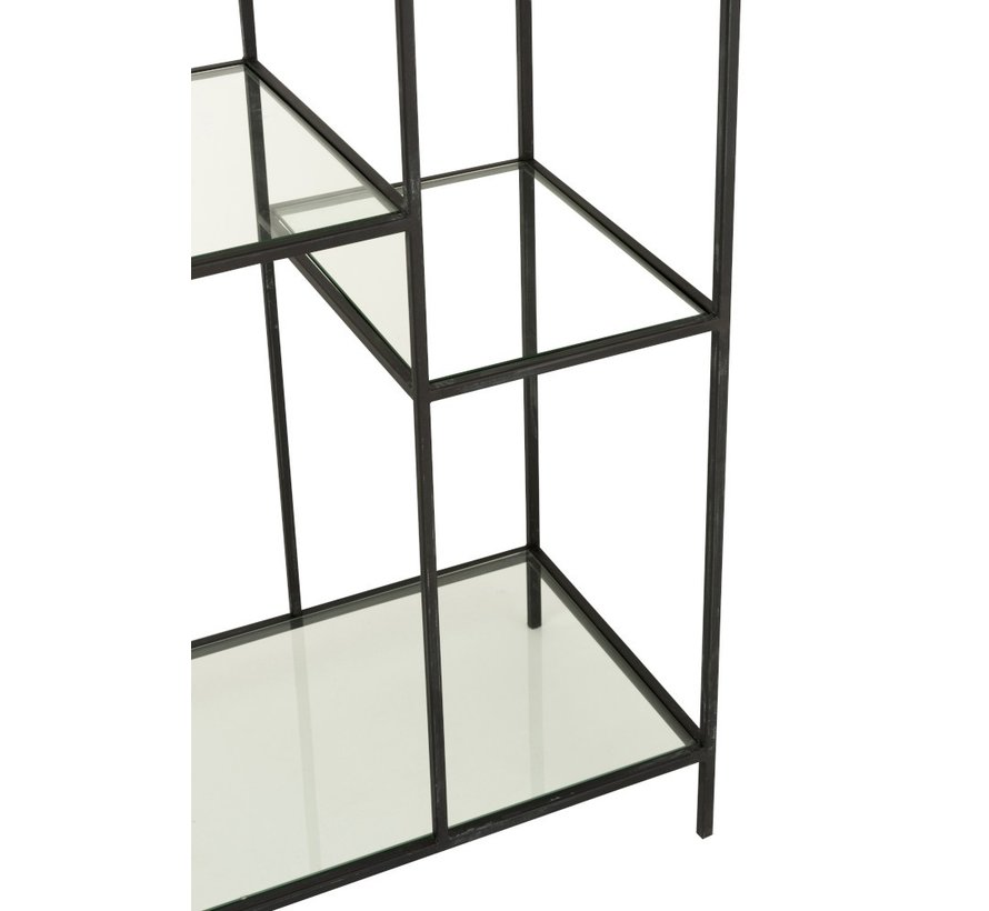 Open Cabinet Two Parts Circle Metal Glass - Black