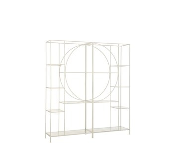 J-Line Open Cabinet Two Parts Circle Metal Glass - White