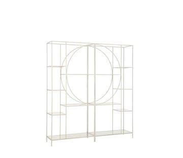 J-Line Open Kast Twee Delen Cirkel Metaal Glas - Wit