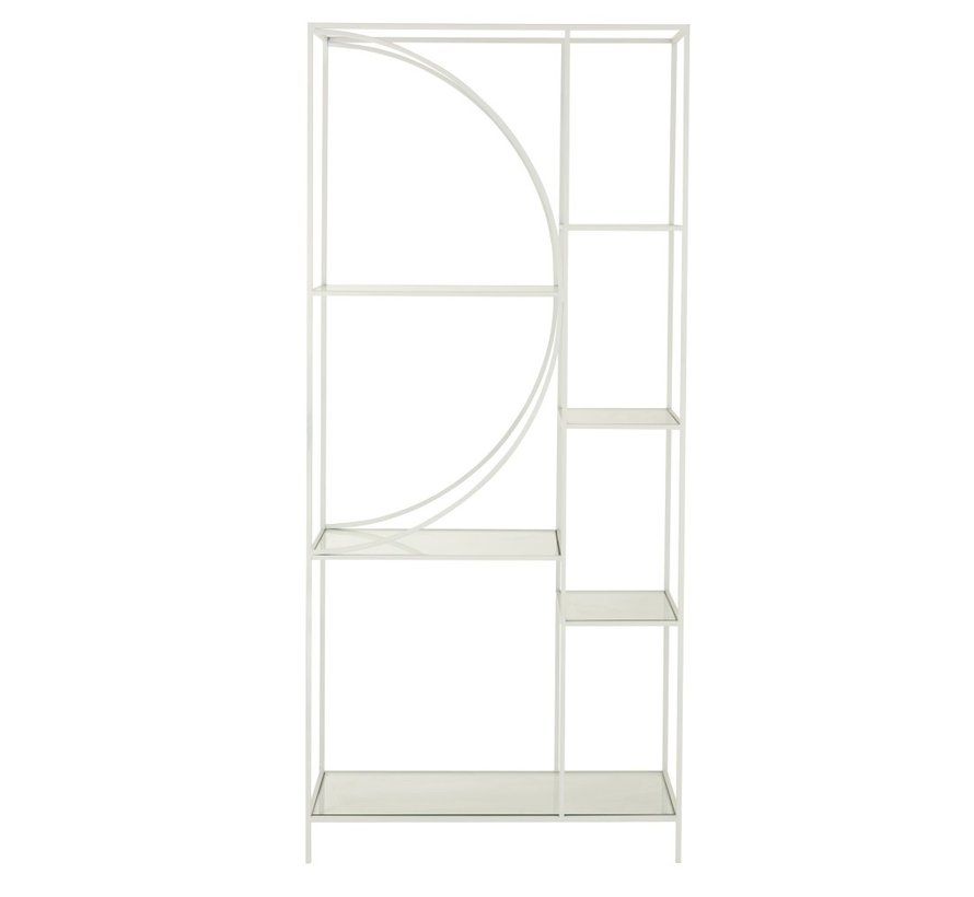 Open Cabinet Two Parts Circle Metal Glass - White
