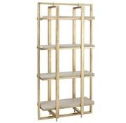 J-Line Open Cupboard Four Shelves Mango Wood Ironwork White - Gold