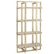 J -Line Open Cupboard Four Shelves Mango Wood Ironwork White - Gold