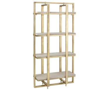J -Line Open Cupboard Four Shelves Mango Wood Ironwork White - Gold