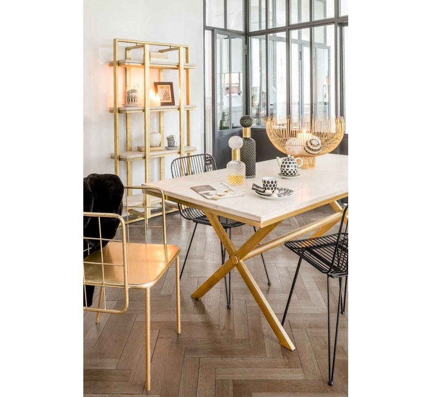 Open Cupboard Four Shelves Mango Wood Ironwork White - Gold