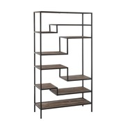 J -Line Open Cupboard Nine Shelves Wood Brown - Black