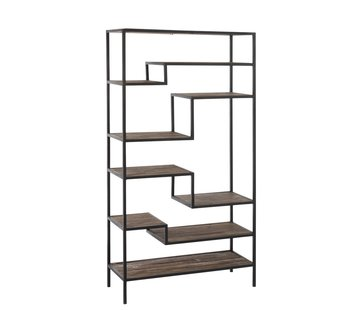 J-Line Open Cupboard Nine Shelves Wood Brown - Black