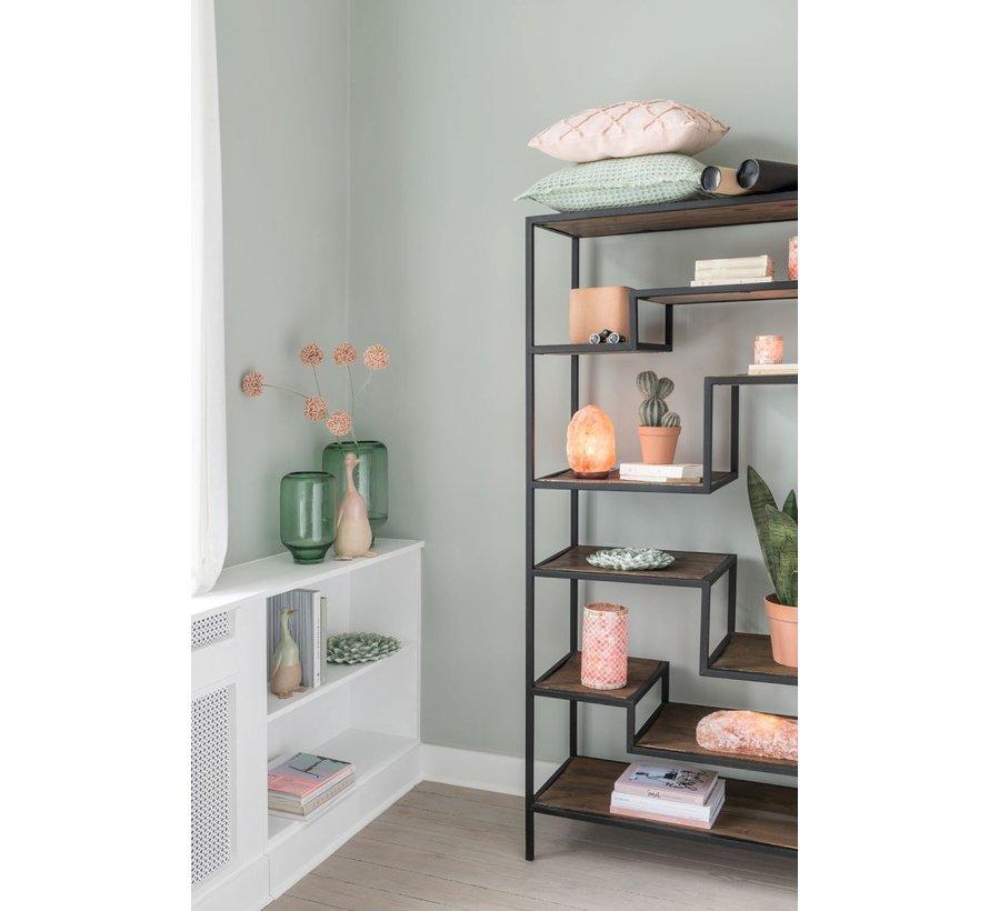 Open Cupboard Nine Shelves Wood Brown - Black