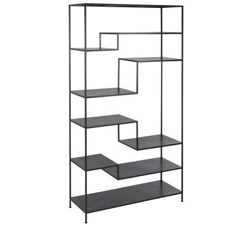 J-Line Open Cupboard Nine Shelves Forging - Black