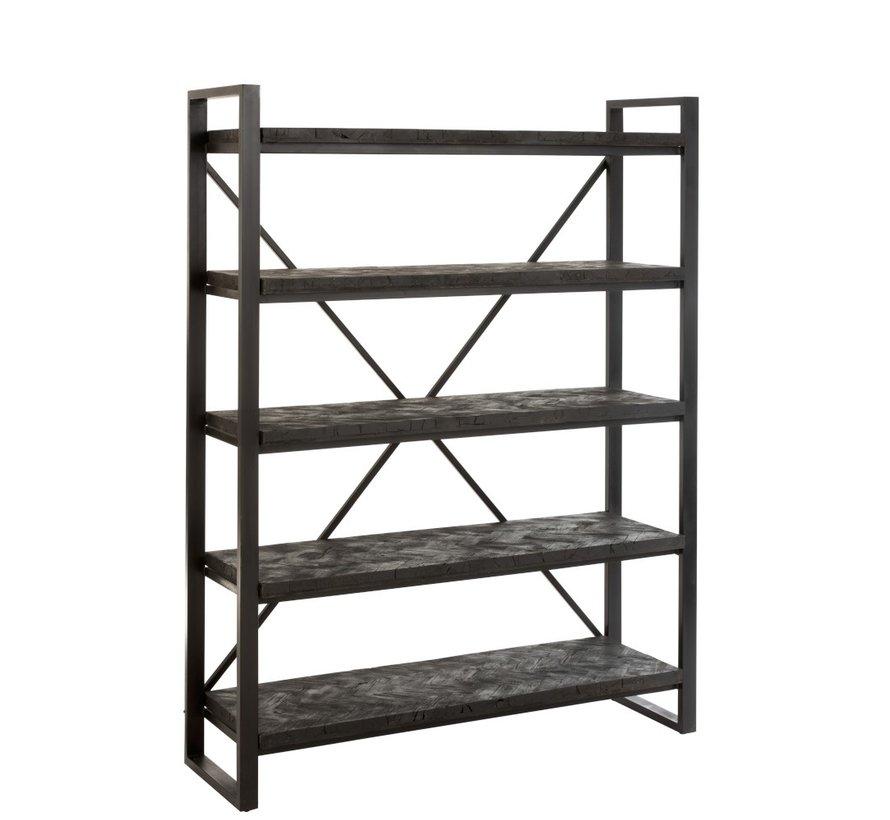 Open Cupboard Rustic Five shelves Driftwood Black - Brown