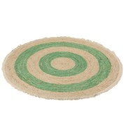 J -Line Carpet Round Corn Husk Cotton Beige - Green