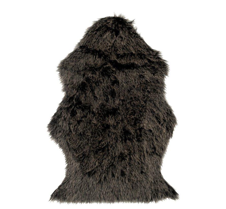 Carpet Long Hair Fake Fur Gray Black - White