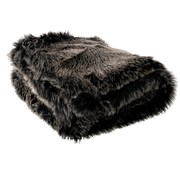 J -Line Plaid Fake Fur Long Hair Gray Black - White