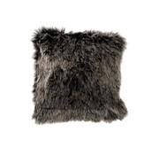 J-Line  Cushion Fake Fur Long Hair Gray Black - White