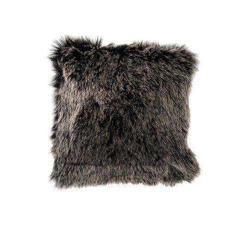 J -Line Cushion Fake Fur Long Hair Gray Black - White
