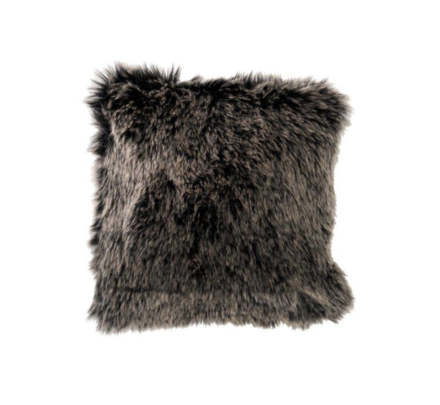 Cushion Fake Fur Long Hair Gray Black - White