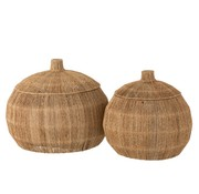 J -Line Baskets Round With Lid Jute Natural - Brown