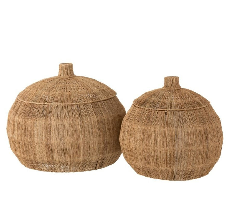 Baskets Round With Lid Jute Natural - Brown