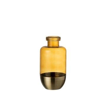 J -Line Bottles Vase Separation Glass Metal Ocher - Small
