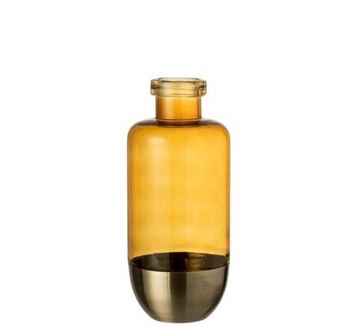 J -Line Bottles Vase Separation Glass Metal Ocher - Large