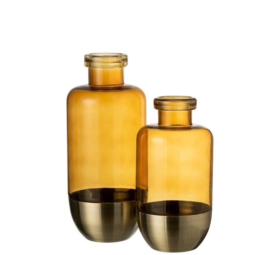 Bottles Vase Separation Glass Metal Ocher - Large