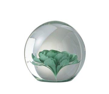 J-Line  Papiergewicht Glas Bloem Transparant Muntgroen - Large