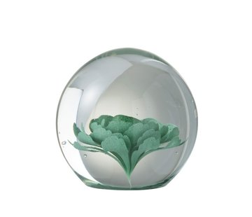 J -Line Papiergewicht Glas Bloem Transparant Muntgroen - Large