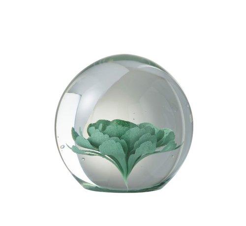J -Line Paper Weight Glass Flower Transparent Mint Green - Large