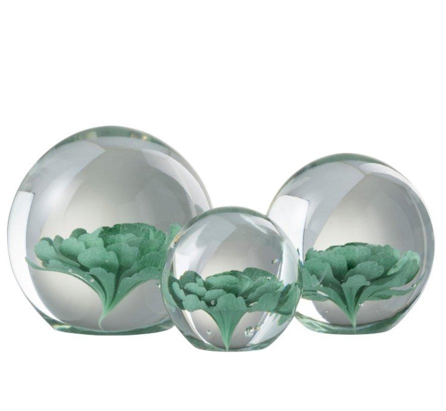 Paper Weight Glass Flower Transparent Mint Green - Medium