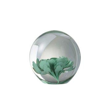 J-Line Papiergewicht Glas Bloem Transparant Muntgroen - Medium