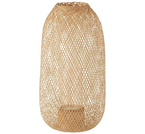 J-Line Candle Lantern Hazelate Bamboo Natural - Large