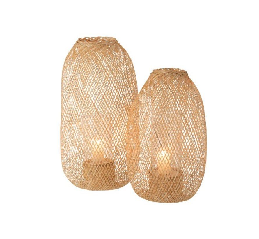 Kaars Lantaarn Hazelaat Bamboo Naturel - Large