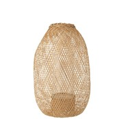 J-Line Kaars Lantaarn Hazelaat Bamboo Naturel - Small