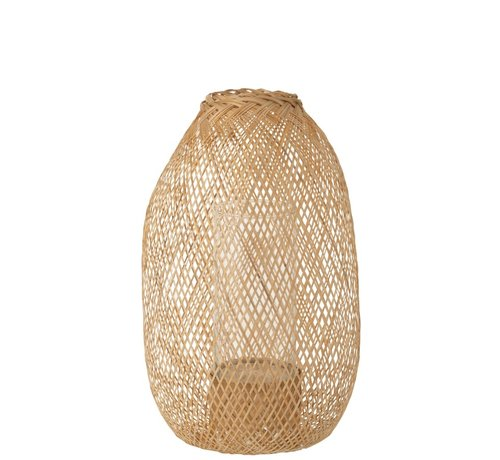 J -Line Candle Lantern Hazelate Bamboo Natural - Small