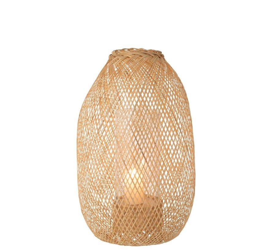 Kaars Lantaarn Hazelaat Bamboo Naturel - Small