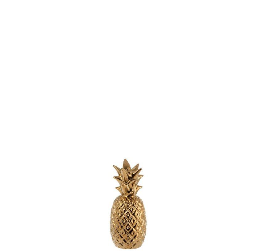 Kandelaar Ananas Poly Blinkend Goud - Small