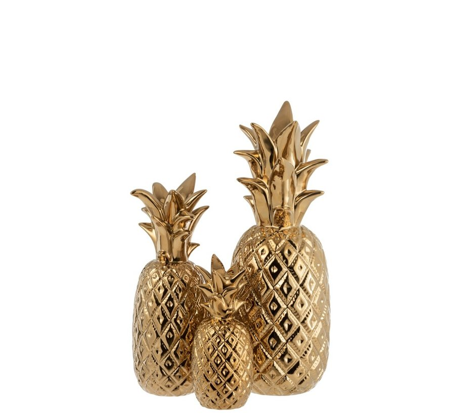 Candlestick Pineapple Poly Shiny Gold - Small