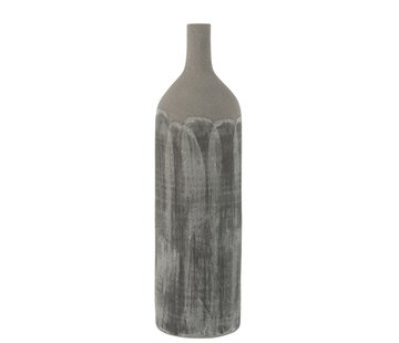 J -Line Bottles Vase Rustic Tough Uneven Gray - Large