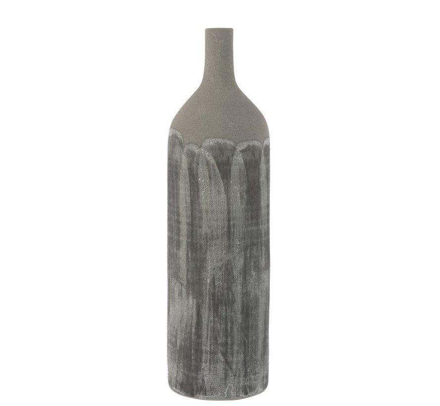 Flessen Vaas Rustiek Stoer Oneffen Grijs - Large